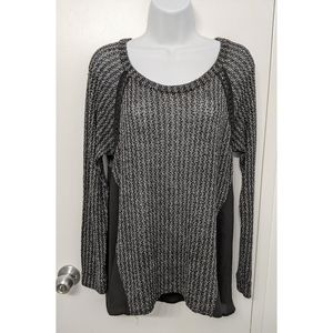 Seven sisters open knit and chiffon sweater sz med